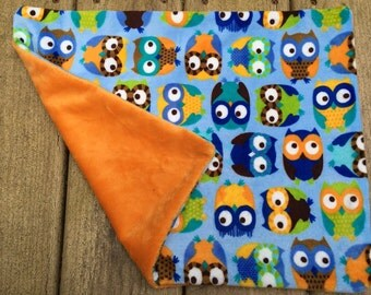 Owl minky pillow toddler pillow for transition to big kid bed blue orange big eye owls for boy minky bedding camping pillow sleepover travel