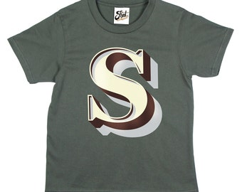 Childrens Alphabet T-Shirt-  Personalise your Kids Initial Monogram top. Any Letter from our Stirling Shadow Font.