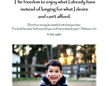 Contentment Biblical quotes inpirational sayings pictures child instant download frame it yourself desktop screensaver wall hanging wall art