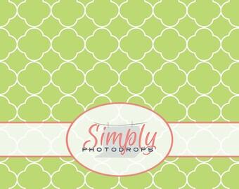 LIGHT GREEN QUATREFOIL vinyl Photography Backdrop