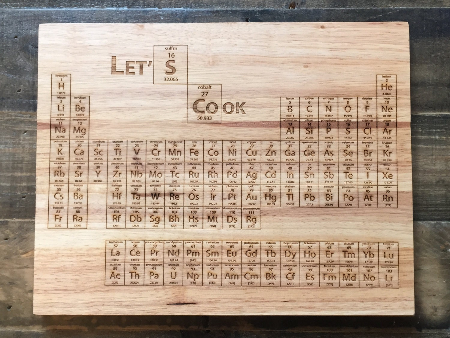 sale breaking bad periodic table cutting kitchen cutting table Breaking Bad Periodic Table Cutting Board Laser Engraved Science Art Engraved Wood Kitchen Decor Geekery Let s Cook Better Call Saul
