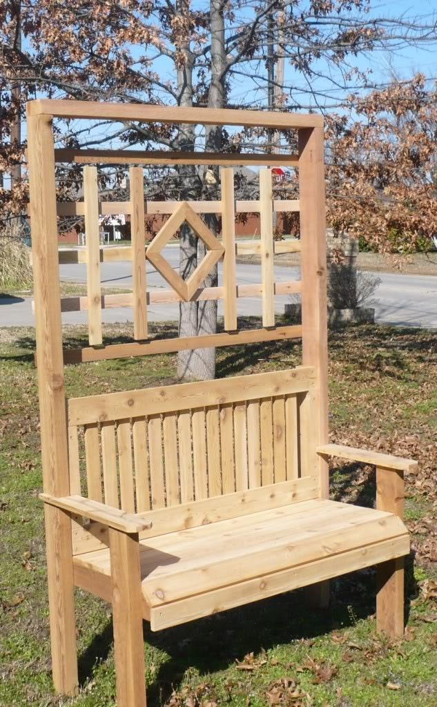 Brand New Cedar Large Garden Bench With Back Trellis Free