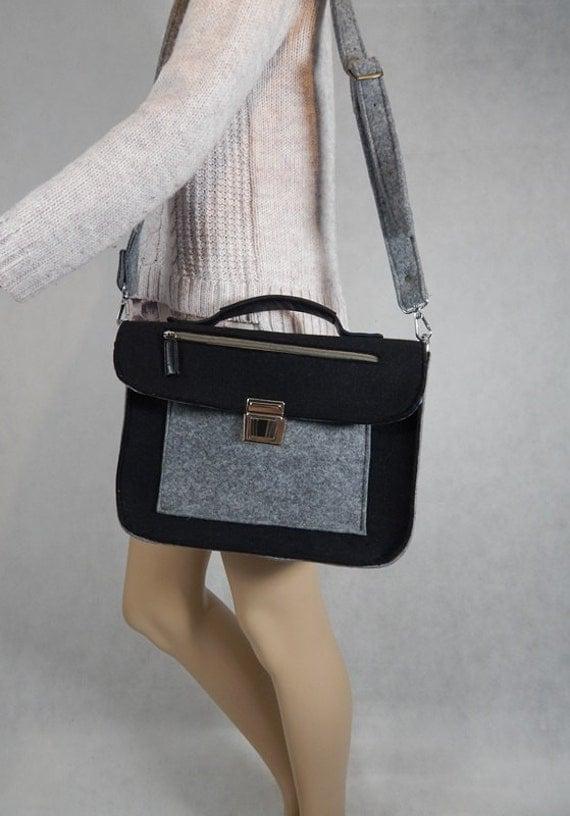 Briefcase,satchel,Felt Macbook 11 inch satchel,Laptop bag,sleeve,Casual bag,Shoulder bag with leather straps buckle,strap shoulder,