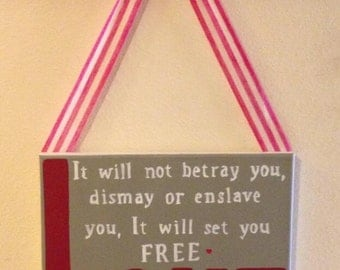Canvas art with ribbon to hang. LOVE will set you FREE. -Mumford & Sons