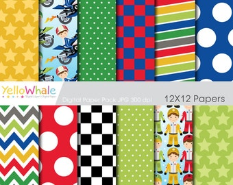 Digital Paper pack - Moto racing for scrapbooking, paper crafts ,cards making, printable - only FOR PERSONAL USE