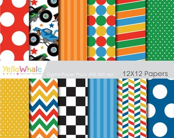 Digital Paper - Monster Trucks, stipes, polka dots for scrapbooking, paper crafts, cards making, - only FOR PERSONAL USE