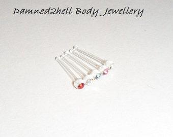 Bioflex Metal Free Nose Bar With Crystal ~ 0.8mm - 20g
