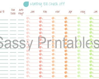 Colorful Monthly Bill Check Off 8 1/2 x 11