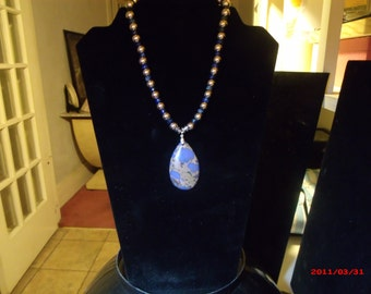 Blue Varascite Pendant Necklace