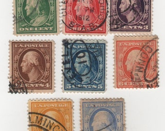 1910-11, (Scott's 374-9 & 381-2) Set of 8, Regular Issue Stamps, Used