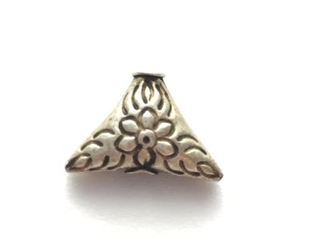 Thai/Khmer Silver Flower Triangle Vintage Bead 15x12mm
