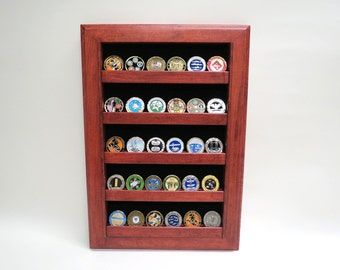 Military Challenge Coin Display Case Wall Rack, Cherry Oak or Walnut