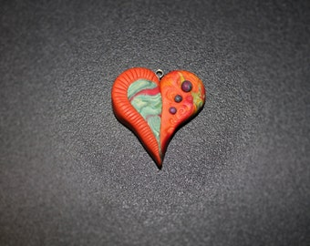 Orange and Teal Polymer Clay  Heart Pendant