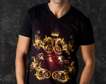 Red Lions Men Tshirt V Neck Rock n Roll Glam Rock Clothing Urban Wear