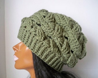 Sage Green Slouchy Hat/ Winter Hat /Slouchy Hat/ Green Hat/ Womens Slouchy Hat/ Slouchy Beanie/ Crochet Hat/ Crochet Slouchy/ Handmade Hats