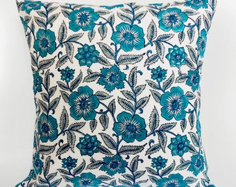 geranium/ floral/ gray blue flowers/ hand block printed/ cotton cushion cover/ lining/ throw pillow/ envelope back/ toss pillow