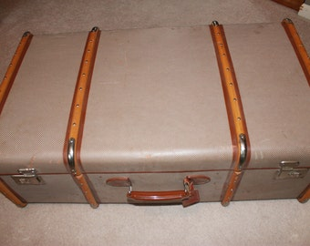 SALE! Handsome H H Jr Large Suitcase with wooden straps****Read Lisitng Before Purchasing