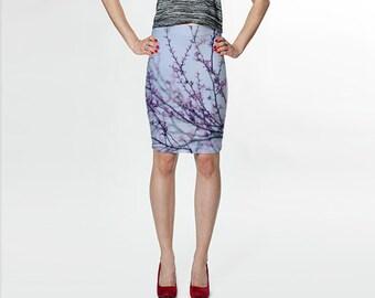 Tree branch printed skirt, pencil skirt, blue knee length skirt, Summer skirt, fashion women, wearable art, fitted skirt, lavender purple