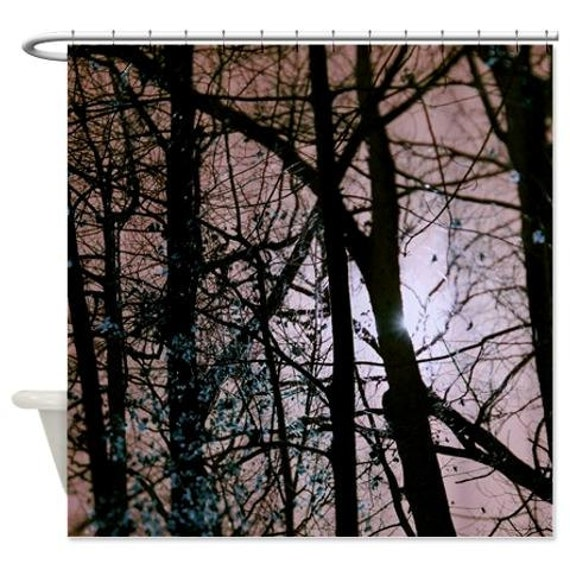 Tree Shower Curtain Brown Tan Black Bathroom Decor Bathroom Accessories Nature Sunshine Forest