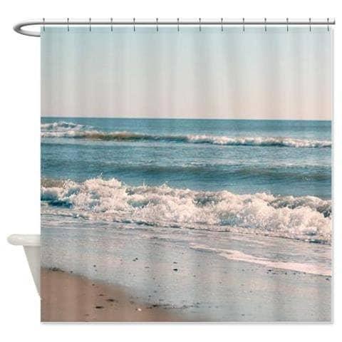 beach shower curtain turquoise bathroom nautical by ourartcloset