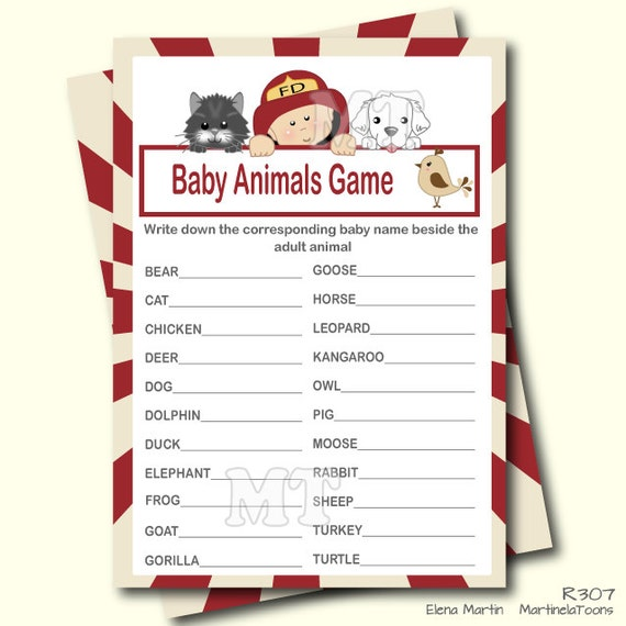 Charming Firefighter Baby Animal Game  Guess Animal Baby Shower Acitvity  Instant  Download Babyshower Games  Printable Game