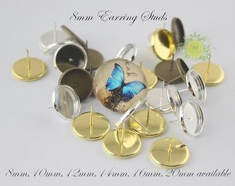 8mm Earstud-Earring Studs-Earring Trays-Earring Stud Bezel Trays-Earring Blanks-Earring Posts-Earring Bezels-3 color to choose