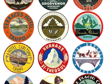 12 vintage luggage labels - snow and great outdoors stickers