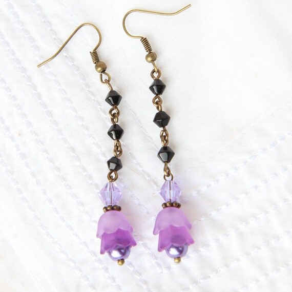long pretty dangle earrings with 2 tones of violet lucite bell. Black Bedroom Furniture Sets. Home Design Ideas