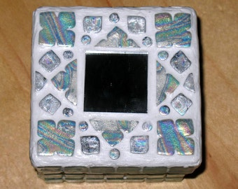 Iridescent Blue Mosaic Square Box Handmade Polymer Clay Trinket Box