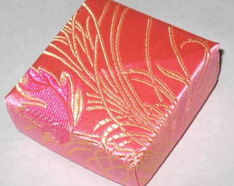 Pink and Gold Satin Fabric Origami Box Gift Box