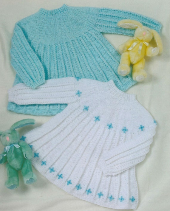 Knitting Pattern For Childs Aran Dress : Knit Baby Dress Vintage Knitting Pattern Angel pinafore Jumper