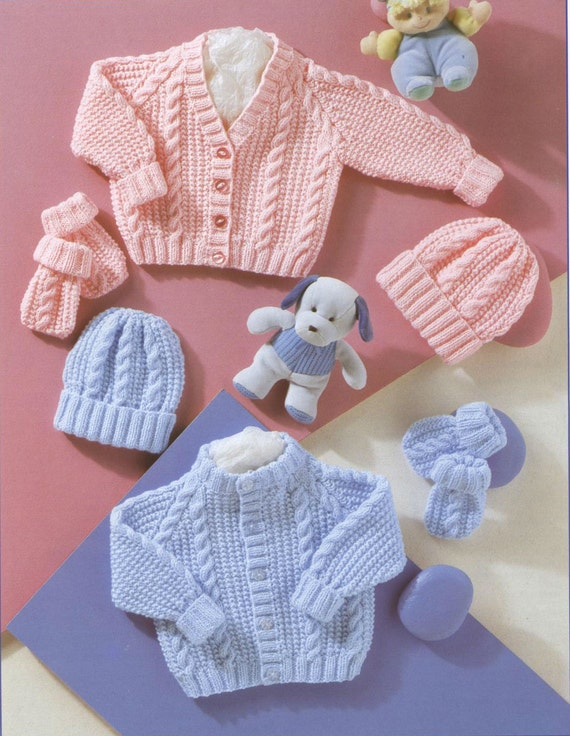 Vintage Knitting Patterns Baby Hats : Knit Baby Cabled Cardigan Hat Mittens Vintage by ...