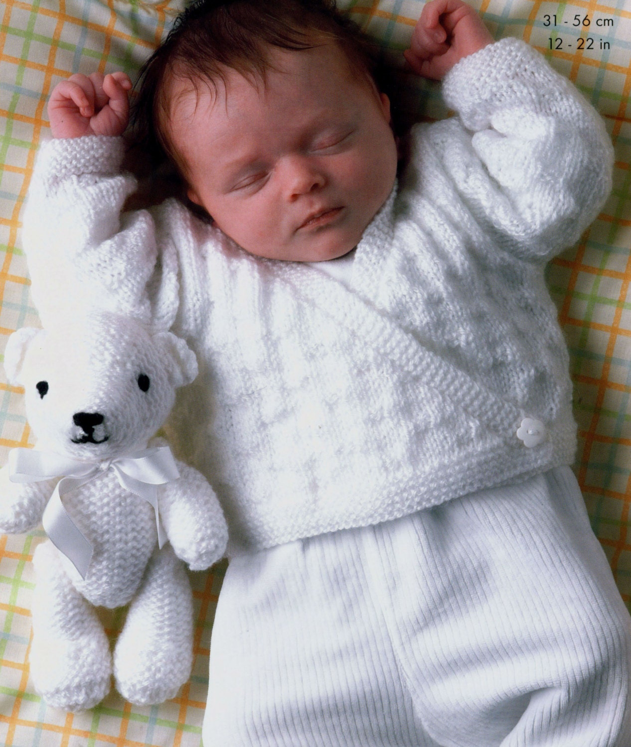 Patterns For Knit Fabrics : 4 Designs Knit Baby Wrap Sweater Teddy Bear Childs Jacket
