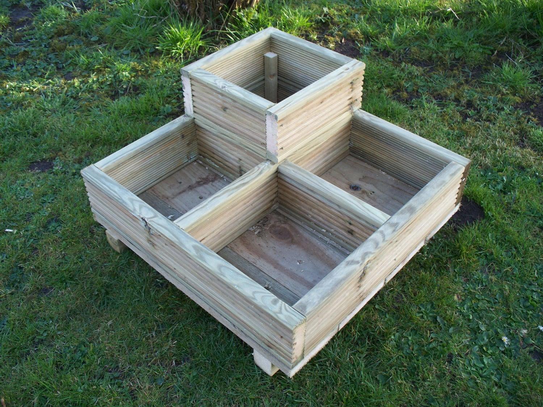 Square decking corner wooden garden planter wood for Wooden garden planters