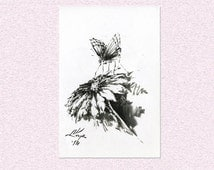 Original Black Ink illustration, Butterfly perching on blooming flower, Nature lover gift drawing w. painted sections- flower insect artwork