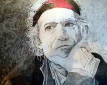 Keith Richards pencil drawing framed art