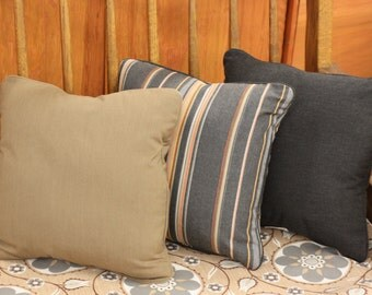 "SUNBRELLA  outdoor pillows with piping, 17"" x 17"" Filled w/Polyester Fiber, Stripe, Beige, or Charcoal Gray"