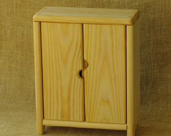 Wardrobe for doll's clothes. Waldorf wooden toys. Natural furniture for dollhouse. Wooden furniture for dolls.