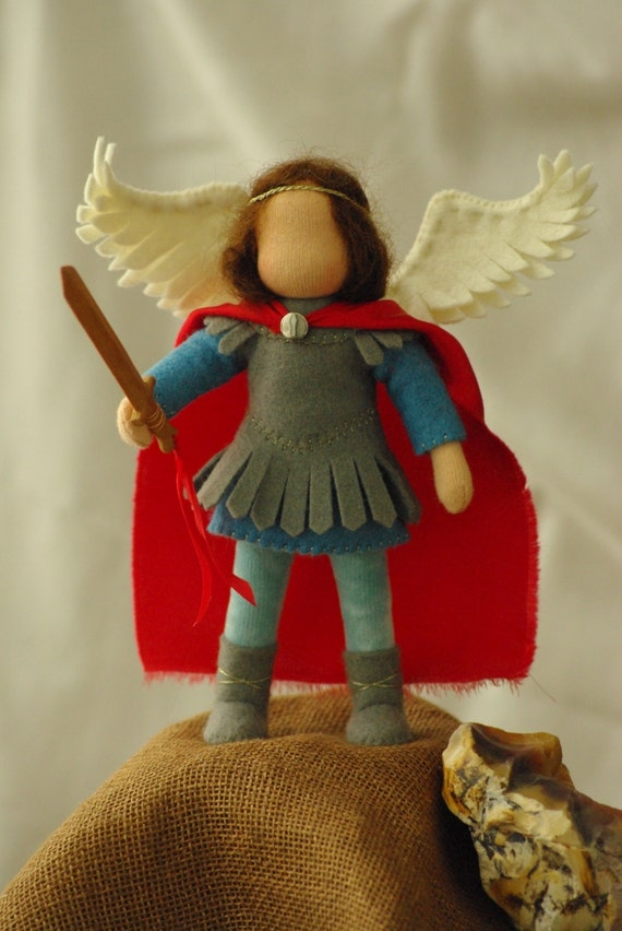 Saint Michael - waldorf doll (13 - 15 cm)