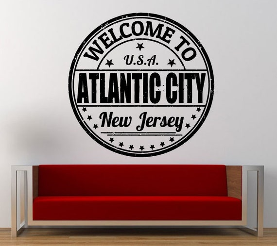 Atlantic City New Jersey Stamp Wall Decal Sticker Vinyl Mural