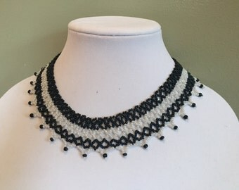 Handmade Necklace, Beaded Collar Necklace,  Sead Bead Necklace, Black and White Necklace, Seed Bead Jewelry, Statement Necklace, Gerdan