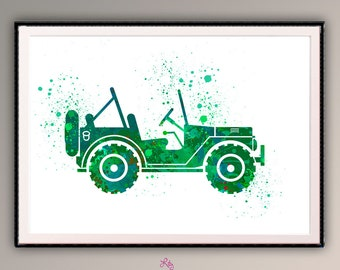 Jeep Willys - Jeep art. Jeep Willys in Watercolor Jeep Poster Automobile  Classic Car Decor Office Decor Room Decor Car Artwork Willys  A501