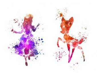 Sets Disney temporary tattoos, Alice and Bambi