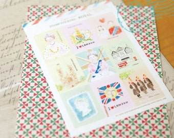 Cute Korean ROYAL LONDON Stamp Stickers/Craft Stickers