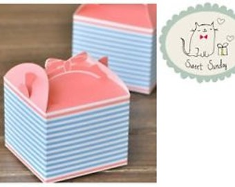 Blue & Pink BOW HANDLE Gift Boxes/ Party/Wedding Favour 5pcs