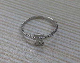 Sale!!!Sterling silver E ring, letter ring, Love ring