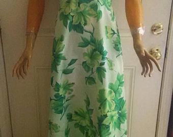 Vintage 1970s Royal Palm Hawaiian Halter Dress Size 6