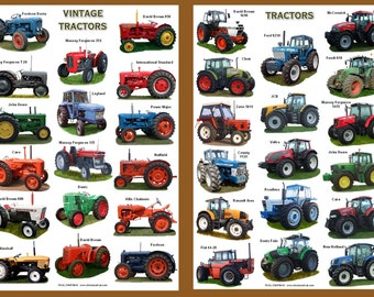A4 Laminated Posters.Vintage Tractors and Modern Tractors