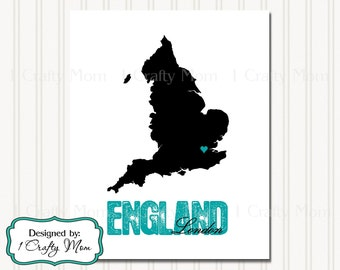 England Silhouette Map London Artwork Decor Wall Art 8x10 Printable Instant Download