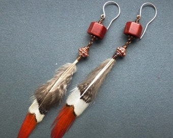 Extra long eco boho hippie real feather earrings / Peasant feather and red jasper long wire wrapped dangling earrings